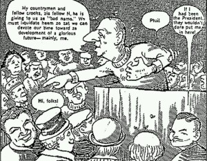 "Cartoon from 1964 edition of Esquire Magazine depicting the former late president of France, Charles de Gaulle , speaking to white world leaders including Moshe Dayan and others from Israel and other places, pointing to the Honorable Elijah Muhammad and declaring: ""Were it not for this man, we would have a glorious future."""