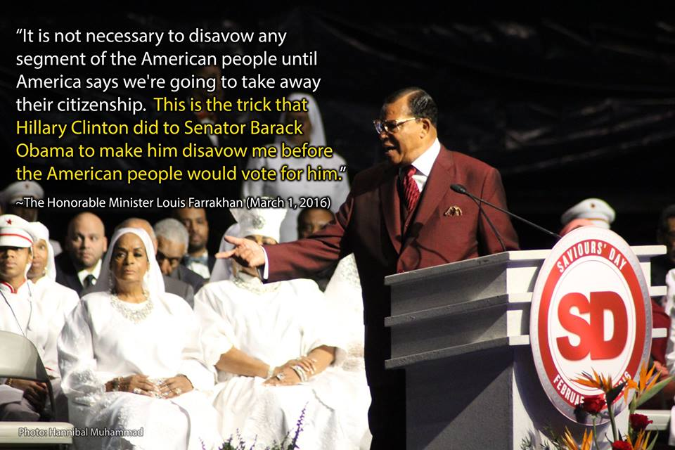 Minister Farrakhan's statement on why it is not necessary to disavow any segment of the American people