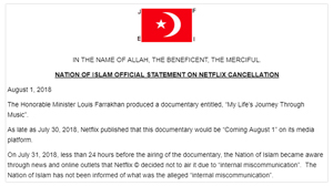 Nation of Islam Statement: Netflix Cancellation